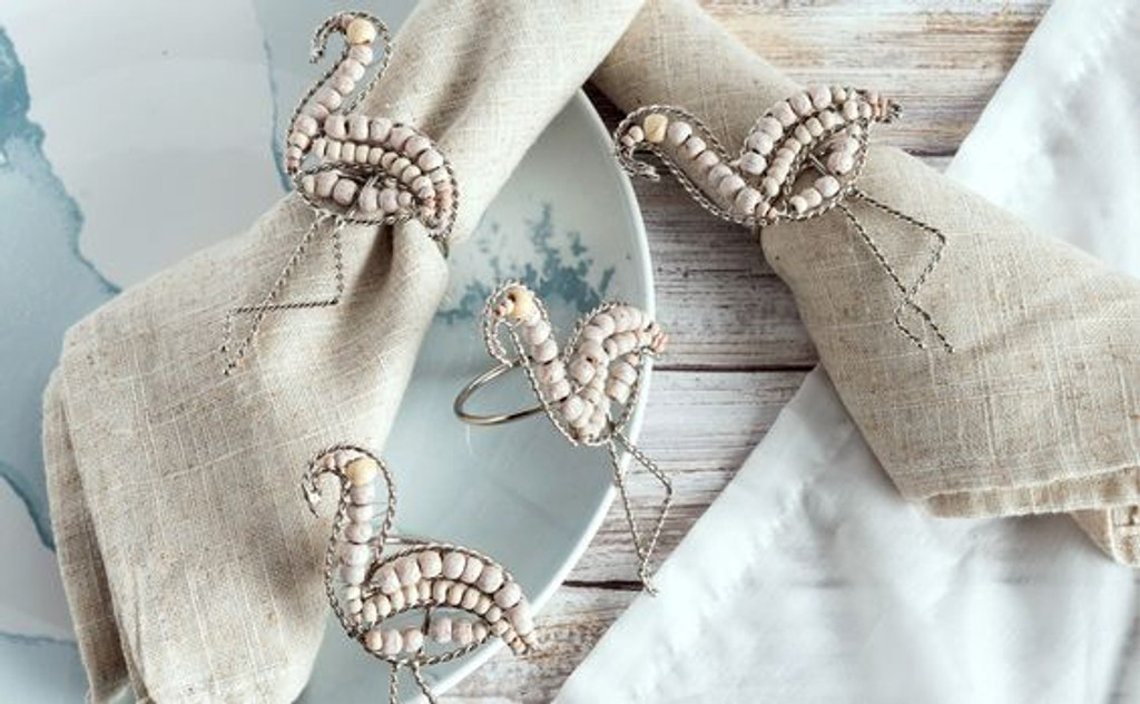 Water's Edge Flamingo Napkin Rings - Set of 4