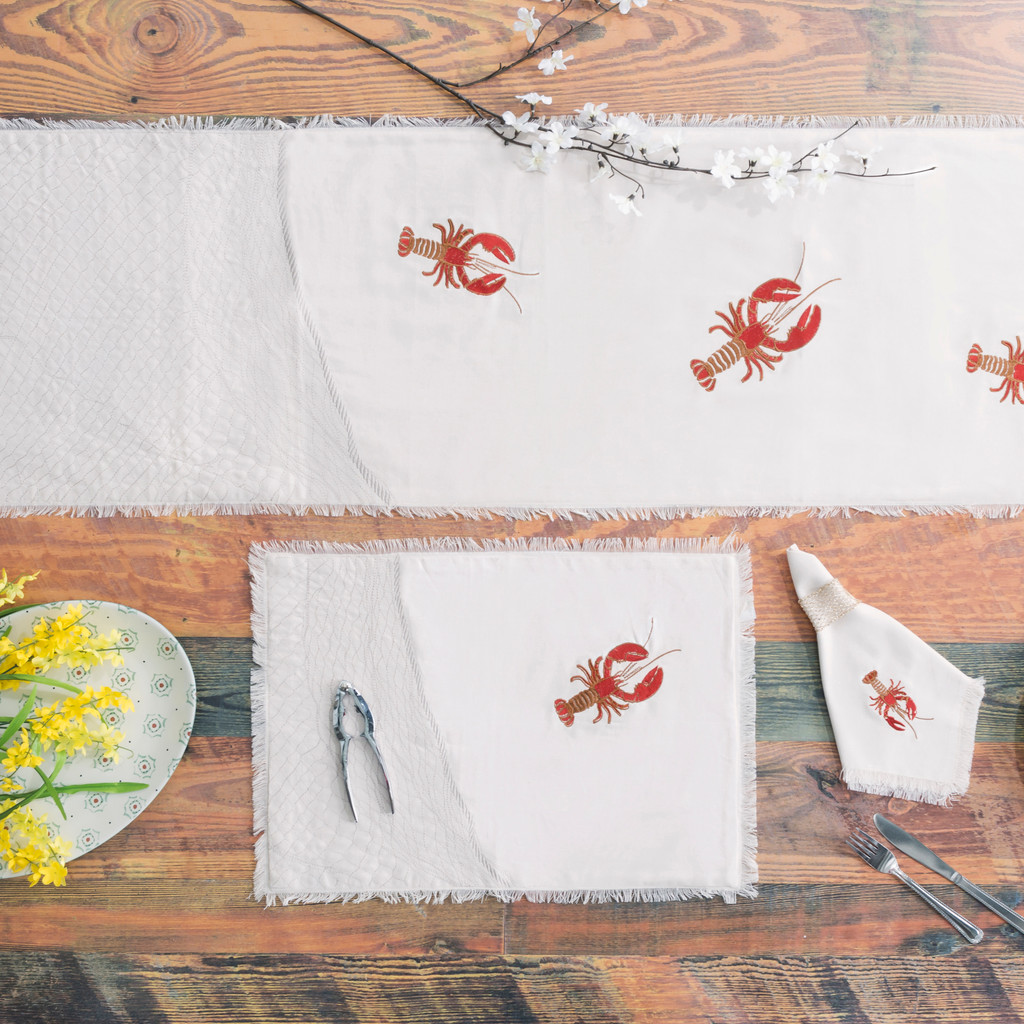 Lobster Net Embroidered Placemats - Set of 4