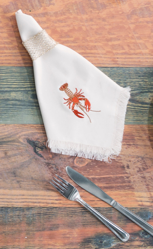 Lobster Embroidered Cotton Napkins - Set of 4