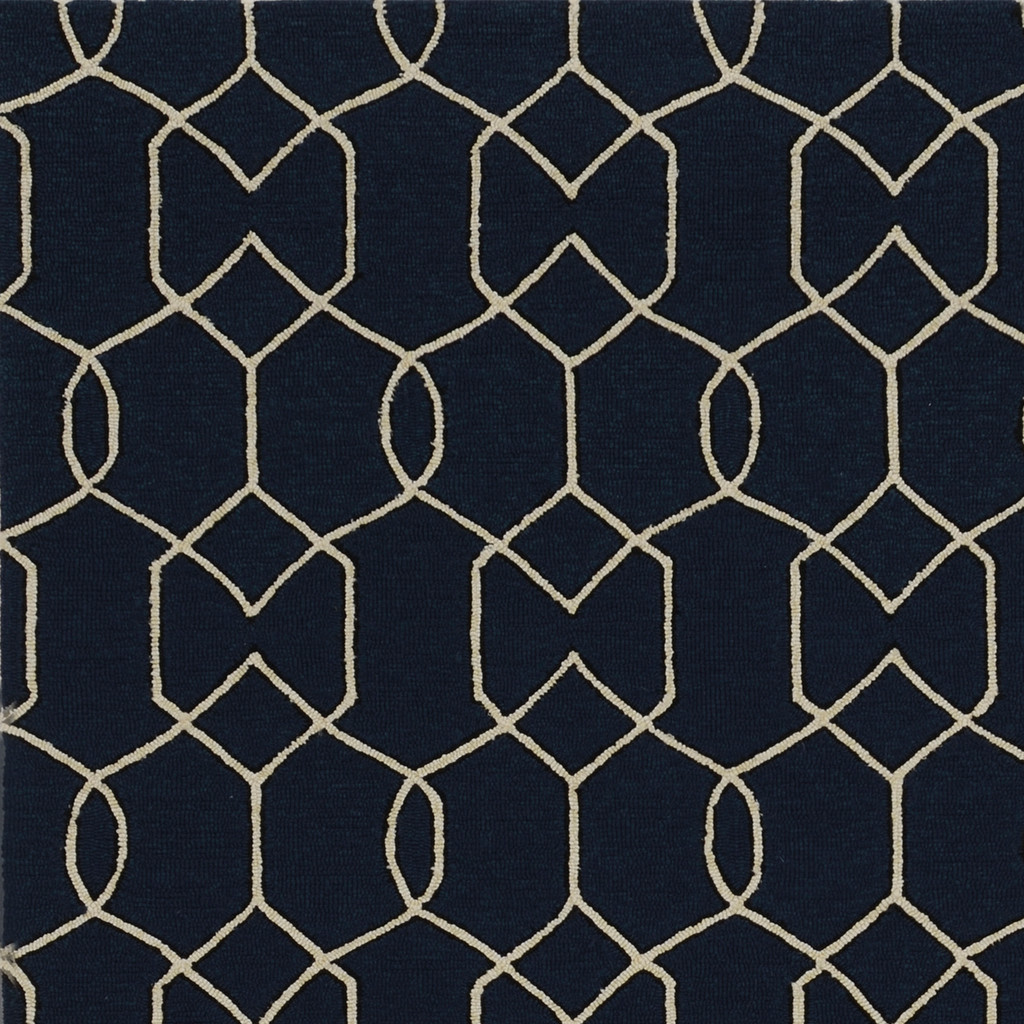Hamptons Navy Groovy Gate Rug close up 2