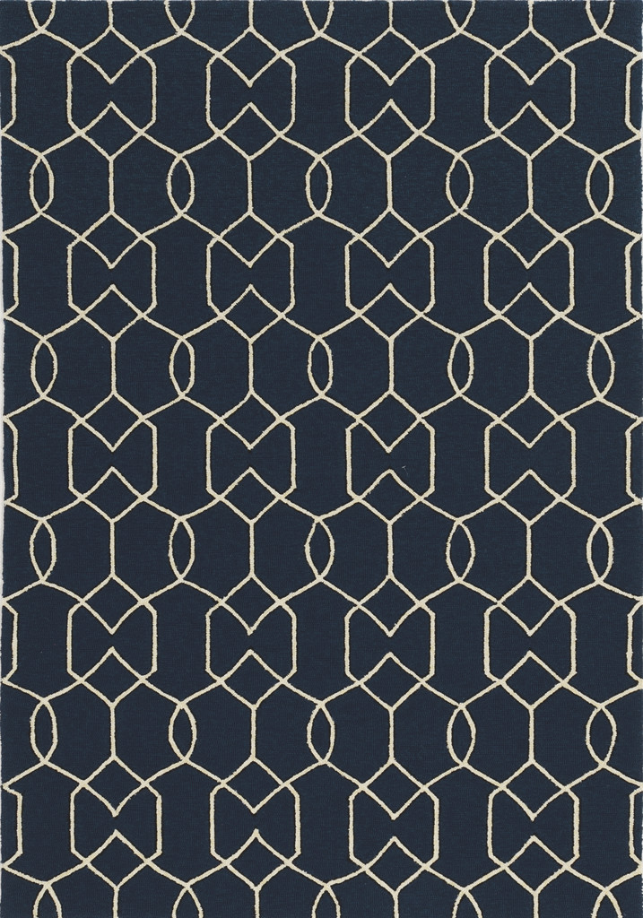 Hamptons Navy Groovy Gate Rug