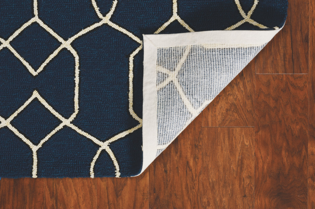 Hamptons Navy Groovy Gate Rug back