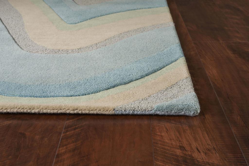Ocean Vibes Sculpted Wool Luxury Rug corner