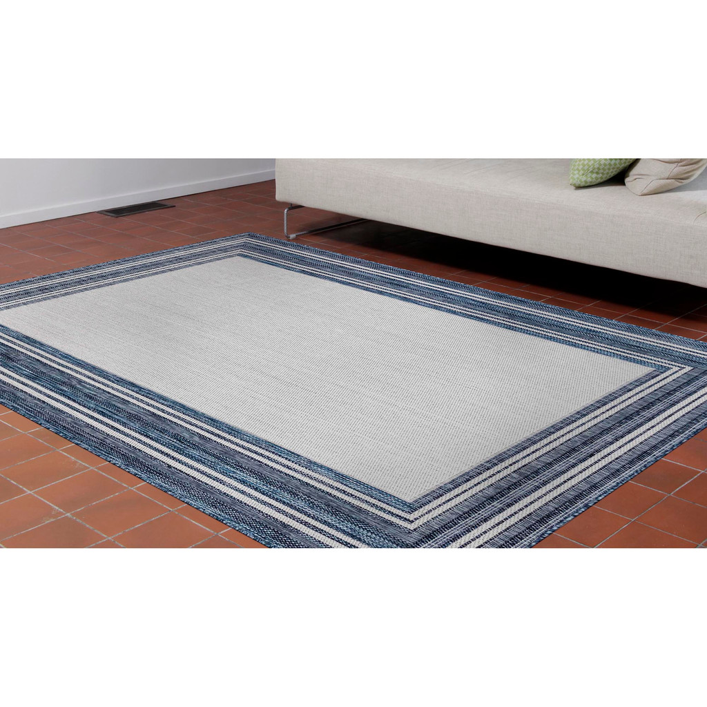 Navy Multi-Border Woven Rug  floor image