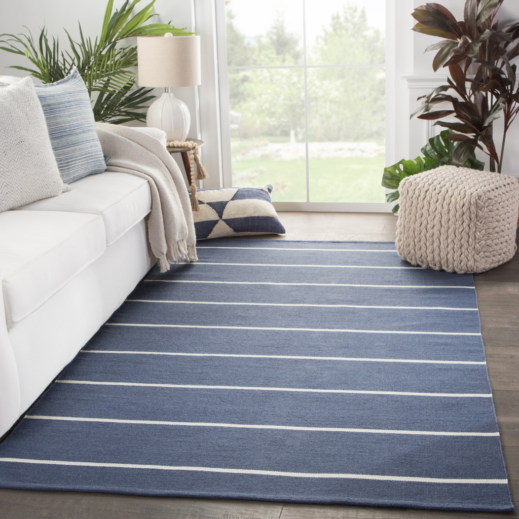 Corbina Pin Striped Eventide Blue Rug room view