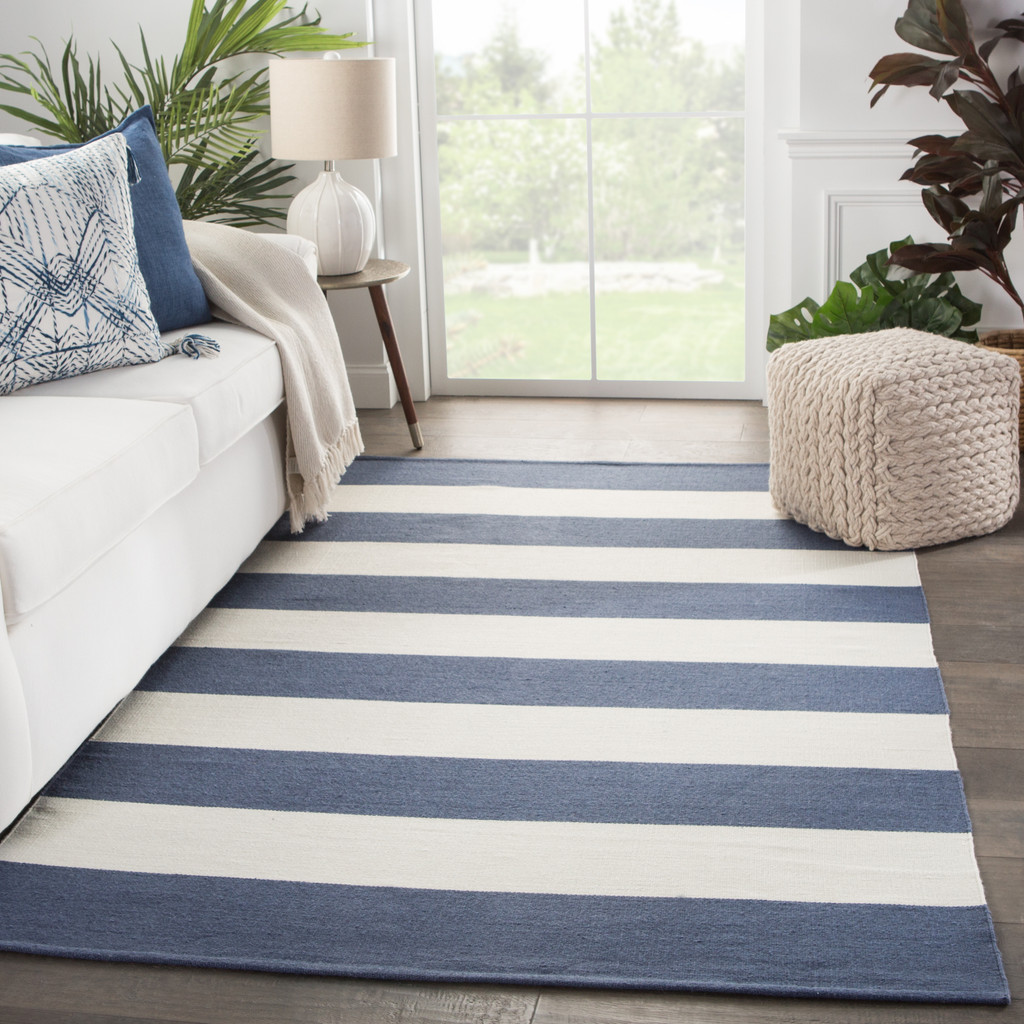 Remora Navy Blue Striped Rug indoor room image