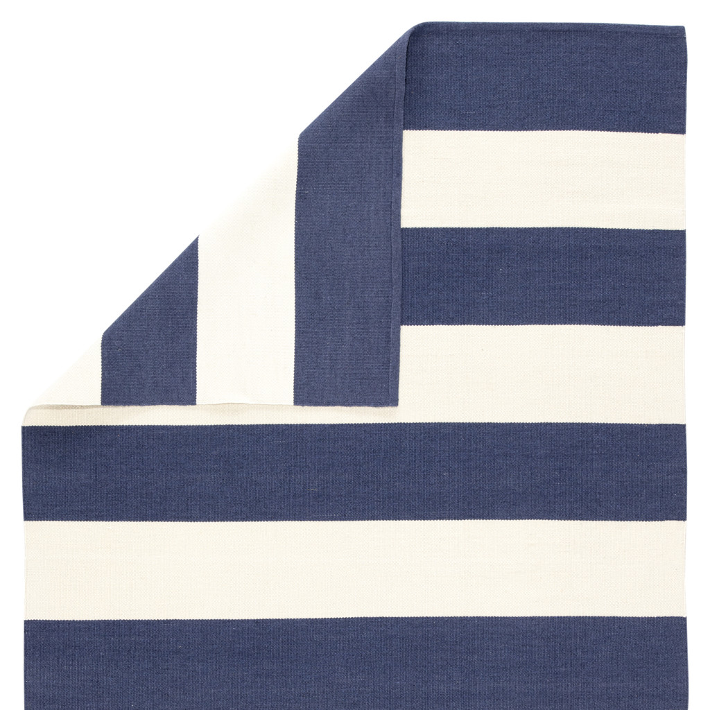 Remora Navy Blue Striped Rug back