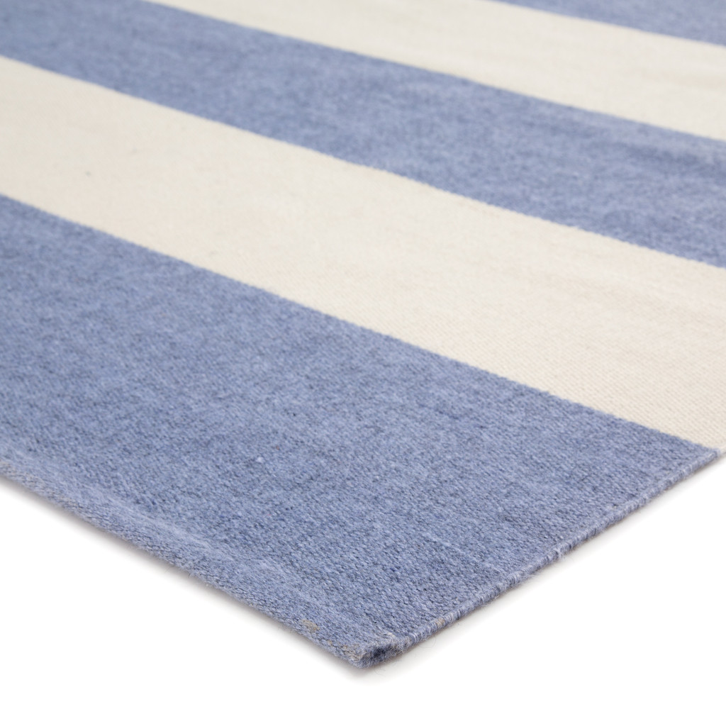 Remora Eventide Blue Striped Rug corner