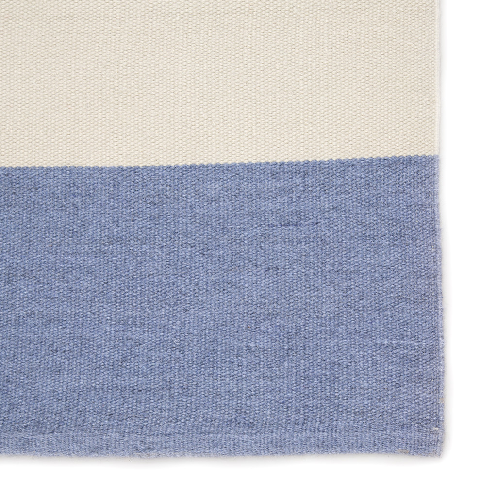 Remora Eventide Blue Striped Rug close up edge