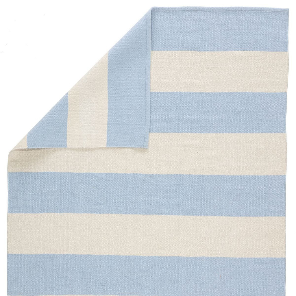 Remora Light Blue Striped Rug back and corner