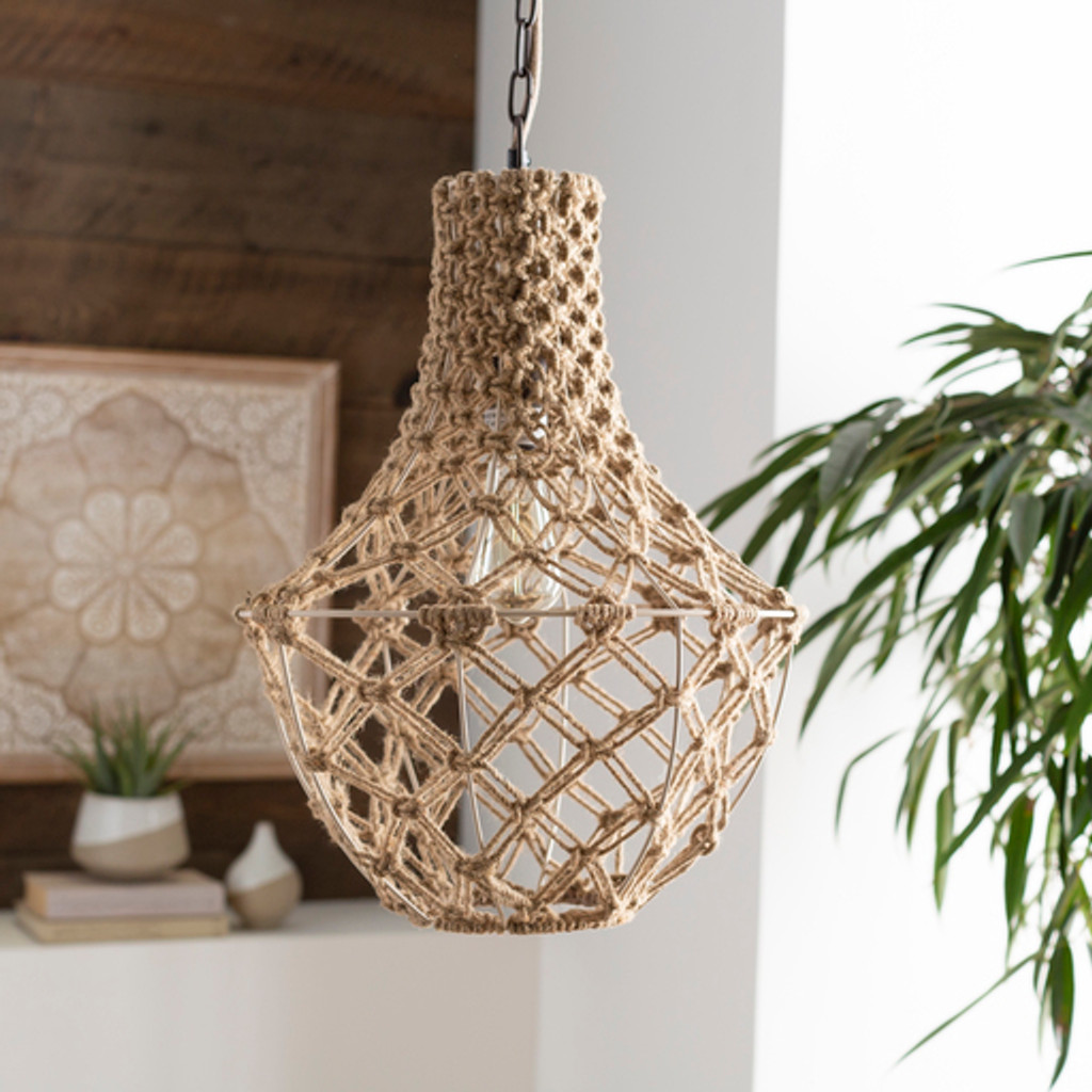 Kasey Key Knotted Jute Lighting Pendant room view