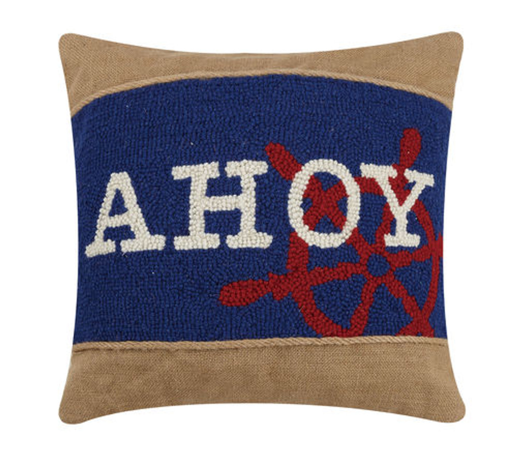 Ahoy Rope and Burlap Pillow