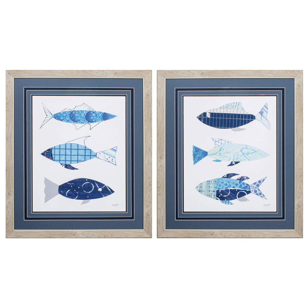 With the Flow Blue Fish Prints - Set of 2