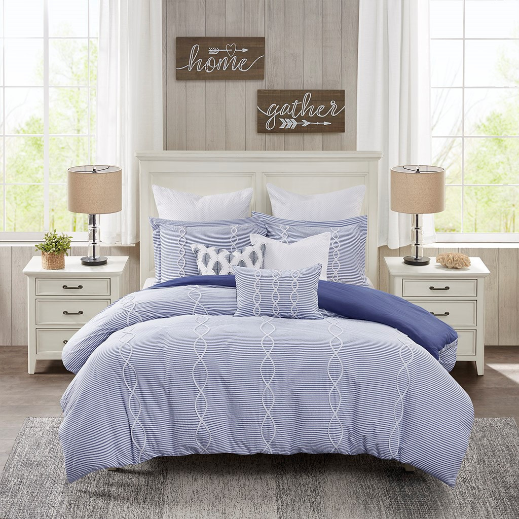 Ocean Blue Coastal Farmhouse Comforter Queen Set