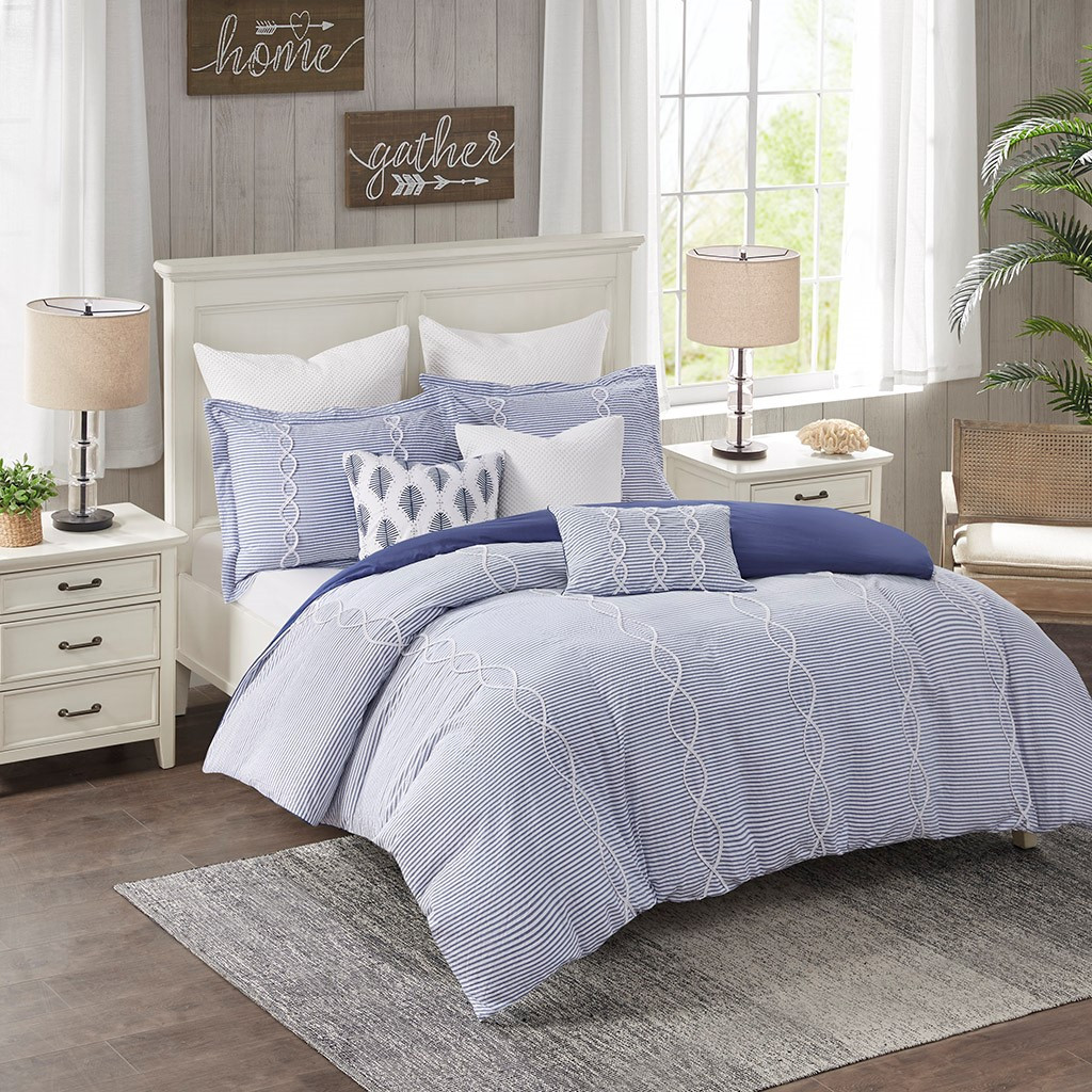 Ocean Blue Coastal Farmhouse Comforter Queen Set  room view 2