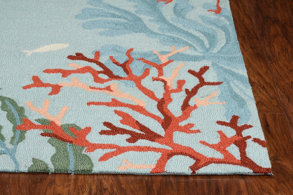 Blue Lagoon Hand-Hooked Rug corner close up