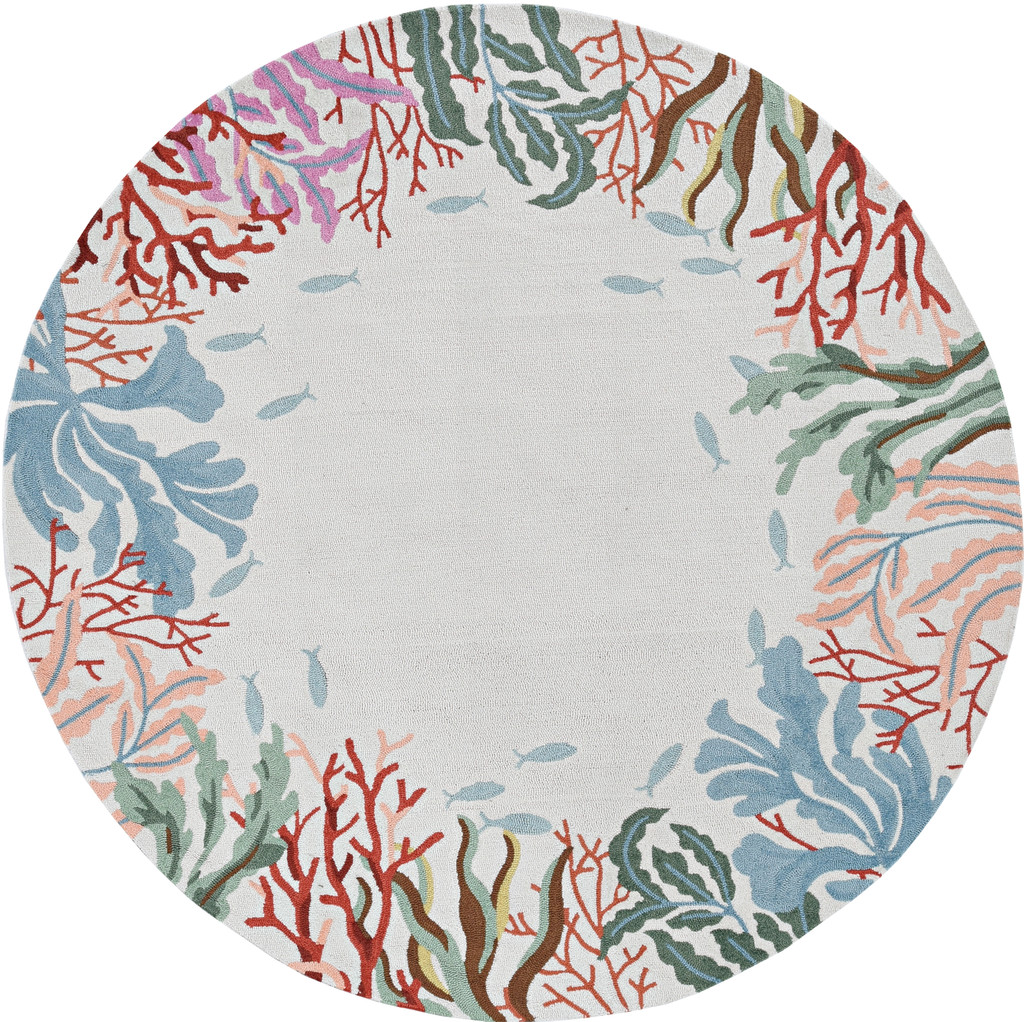Light Blue Lagoon Hand-Hooked Area Rug round