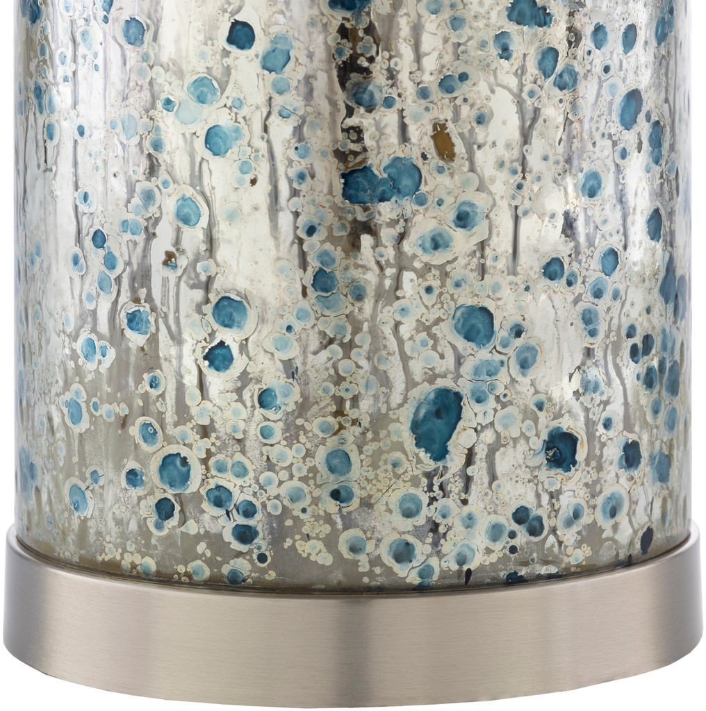 Ormand Blue Mercury Glass Table close up base