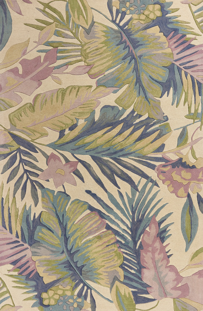 Tropical Pastel Palm Wool Area Rug  main image