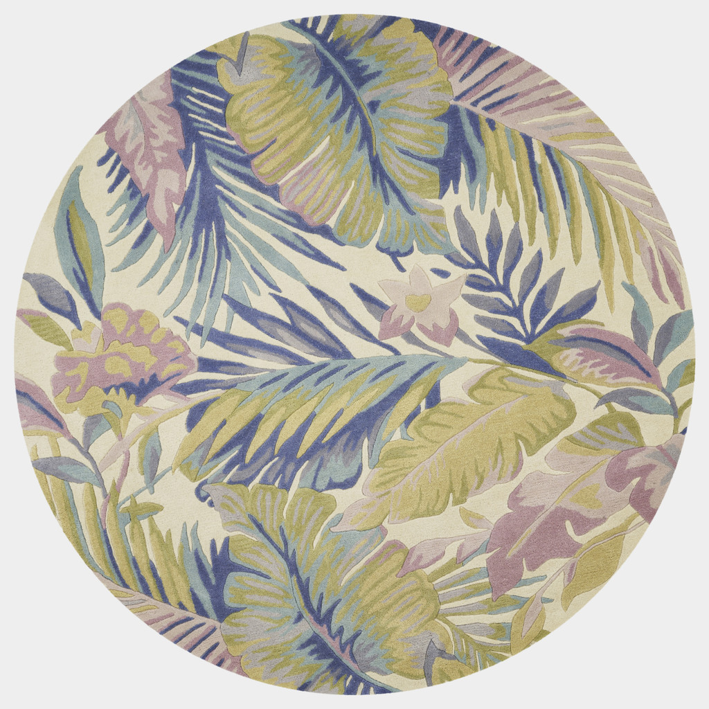 Tropical Pastel Palm Wool Area Rug  round image
