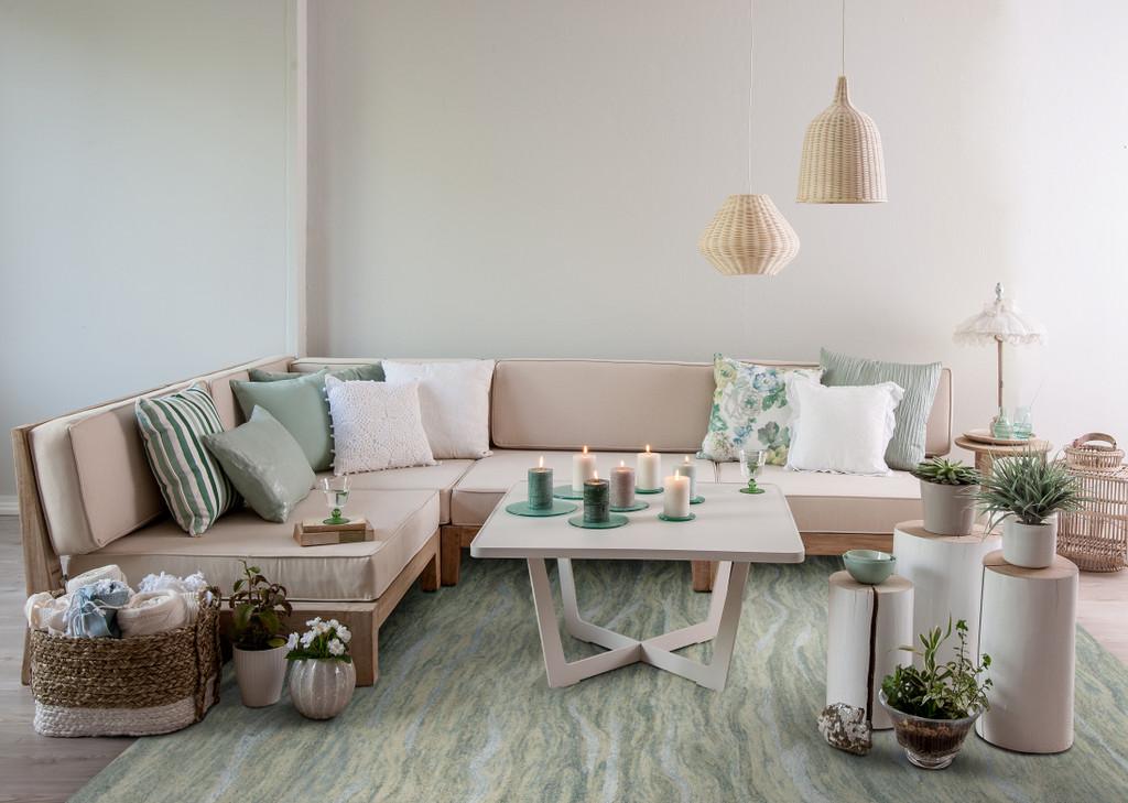 Serenity Seafoam Breeze Luxury Wool Rug room view
