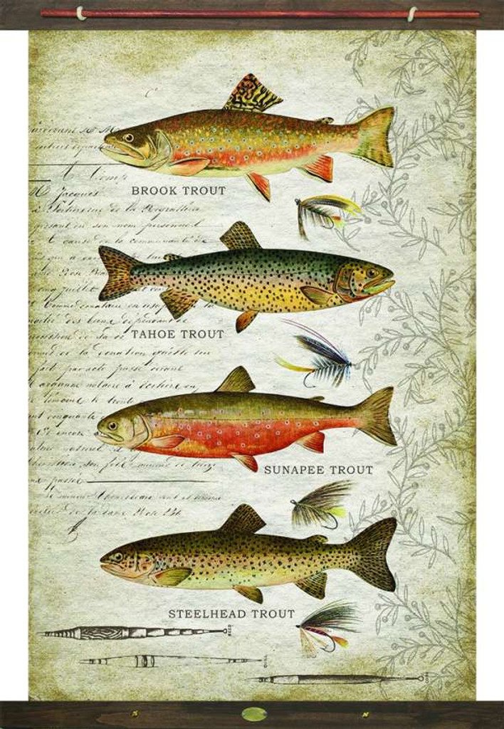 Vintage Inspired Trout Species Tapestry Wall Art