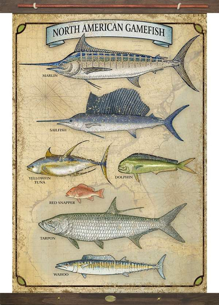 Vintage Inspired Game Fish Tapestry Wall Art