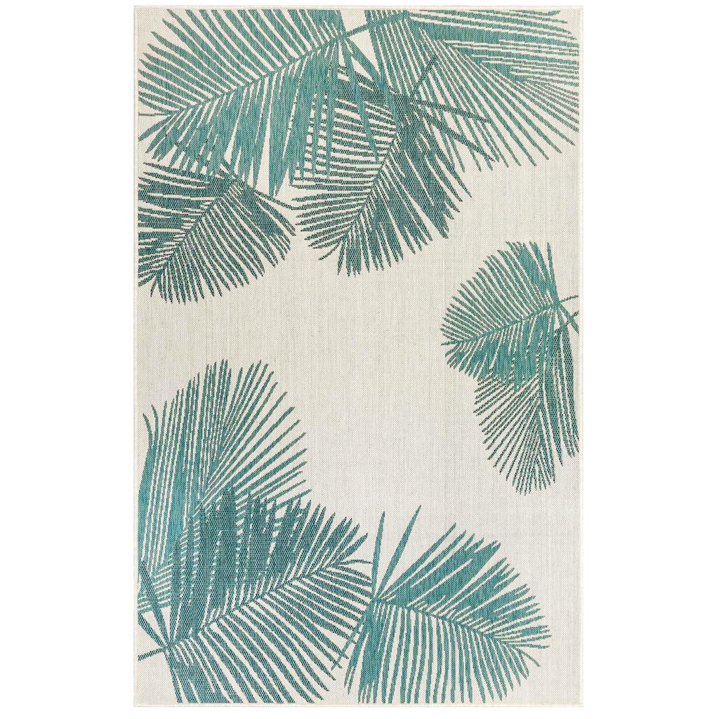 Aqua Carmel Tropical Palm Rug