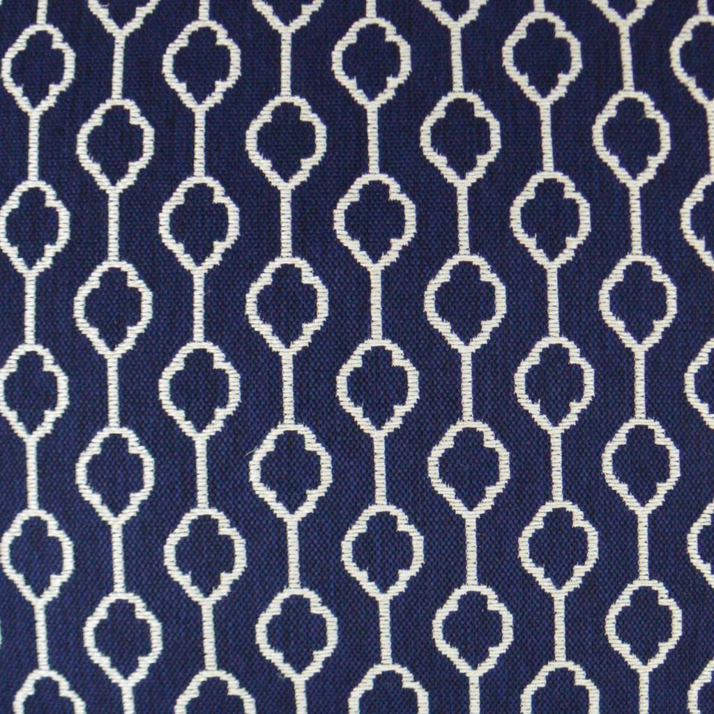 Striker Indigo Blue and White Pillow fabric close up