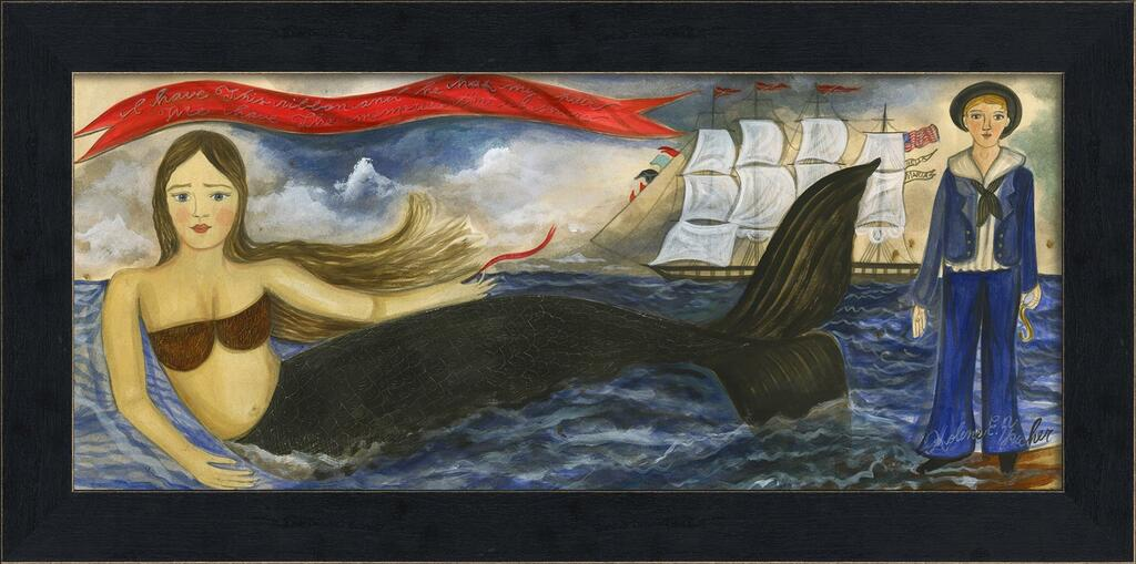 Small Mermaid with a Ribbon Framed Art