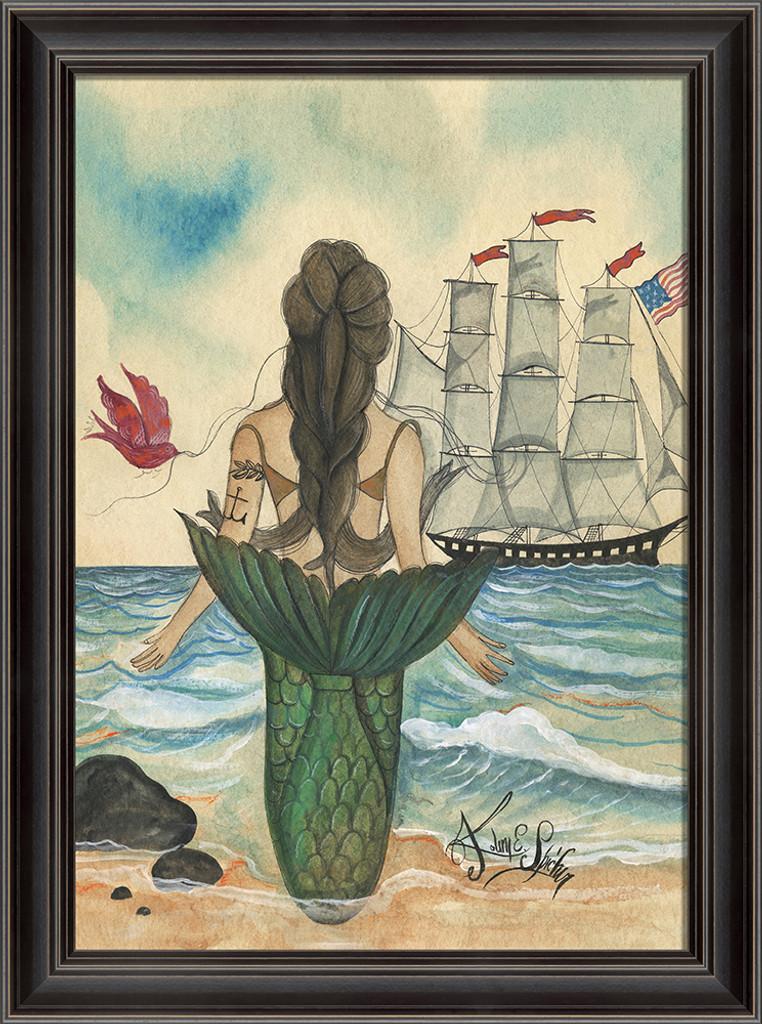 Mermaid with a Tattoo Framed Art