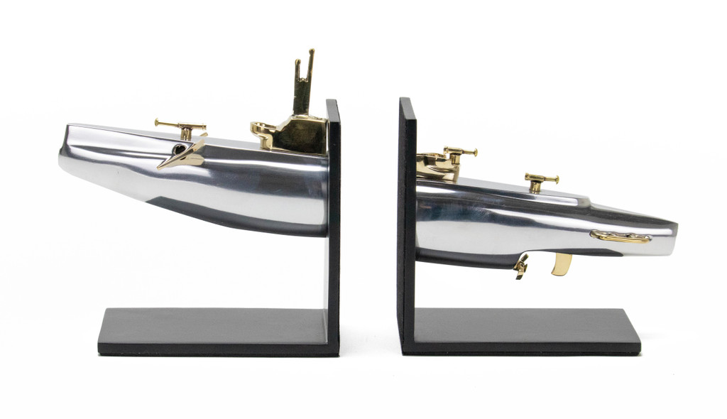 Silver Submarine Bookends 3