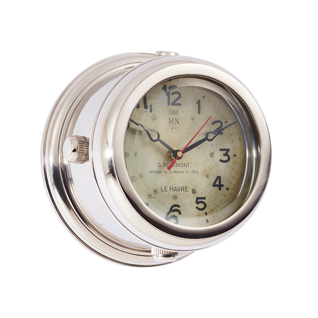 Polished Aluminum Deckhand Wall Clock
