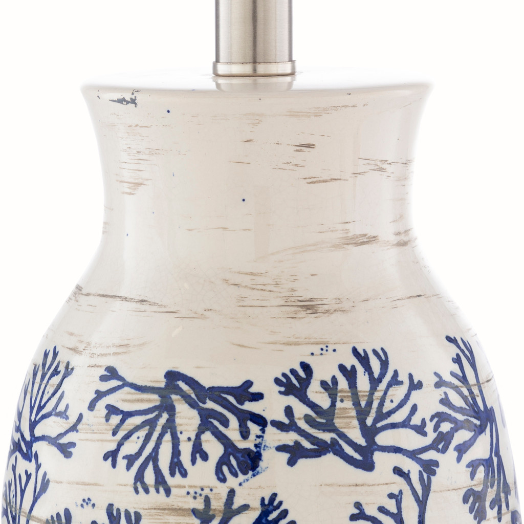 Octavia Blue Coral Painted Table Lamp lamp base 2