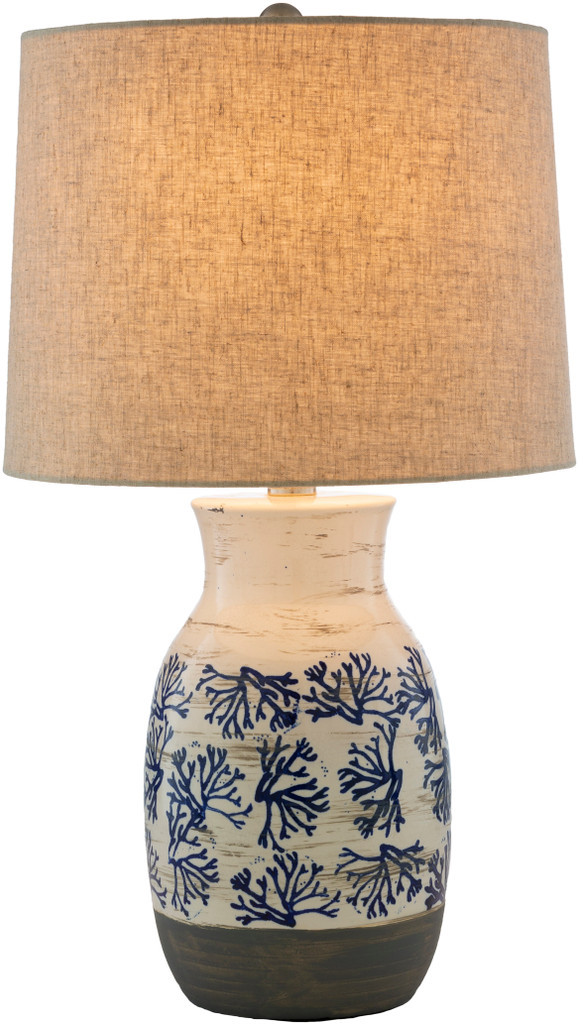 Octavia Blue Coral Painted Table Lamp light on