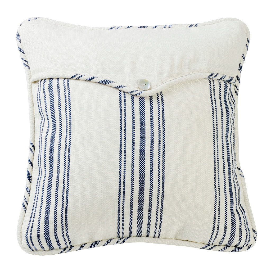Navy Striped Linen Weave Envelope Pillow