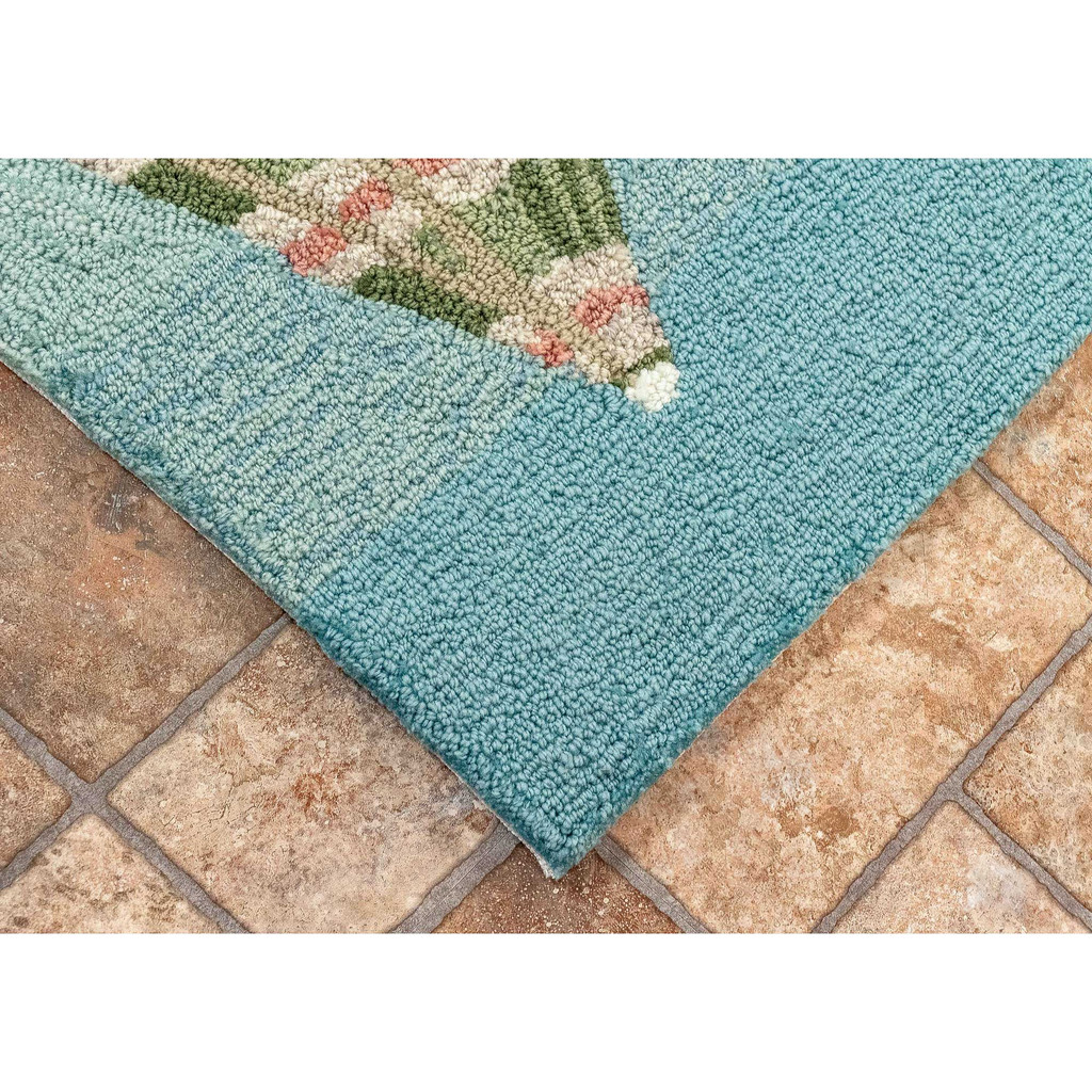 Aqua Beach Umbrellas Accent Rug