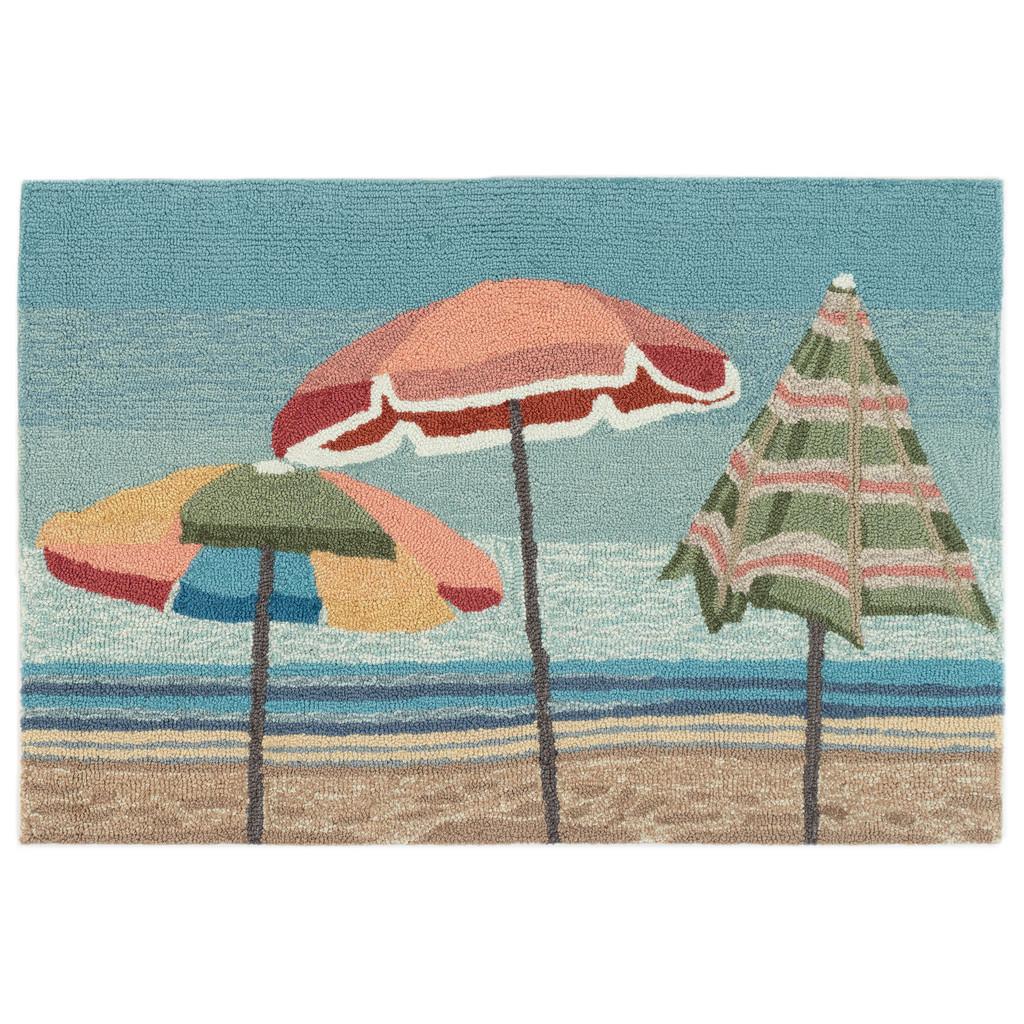 Aqua Beach Umbrellas Accent Rug main image