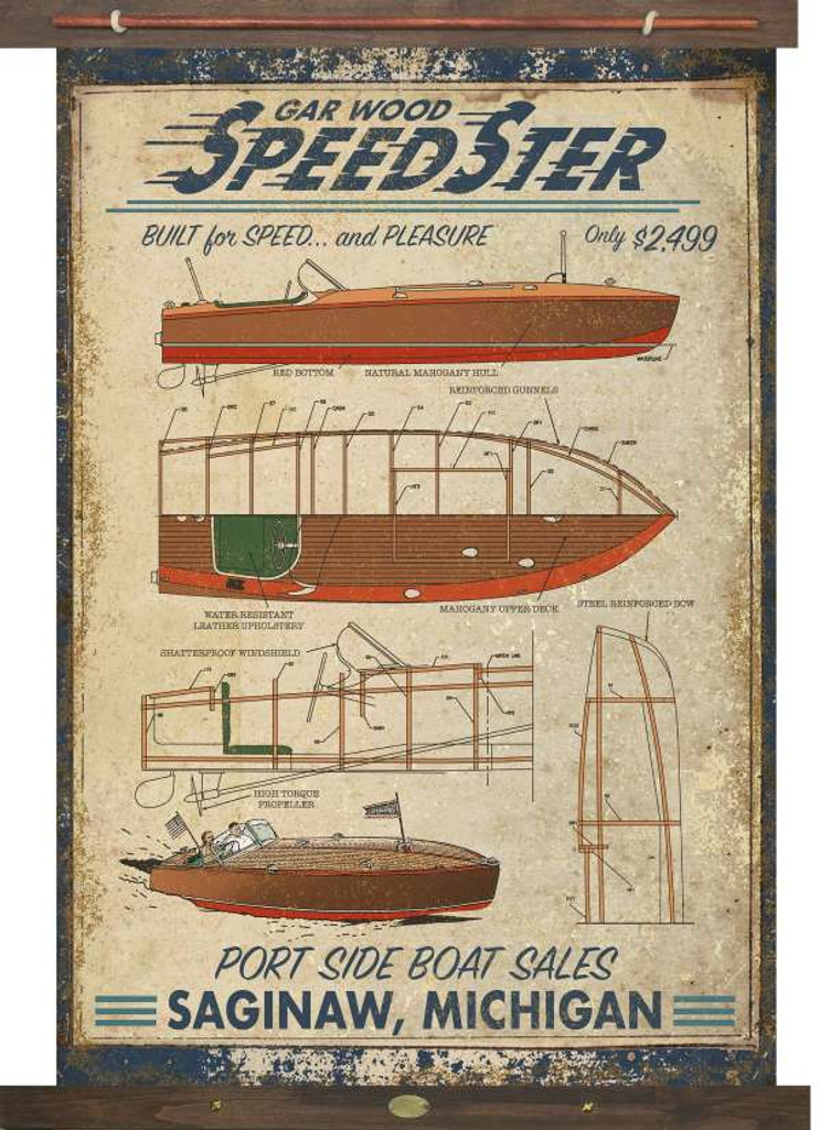 Vintage Speedboat Tapestry Wall Art