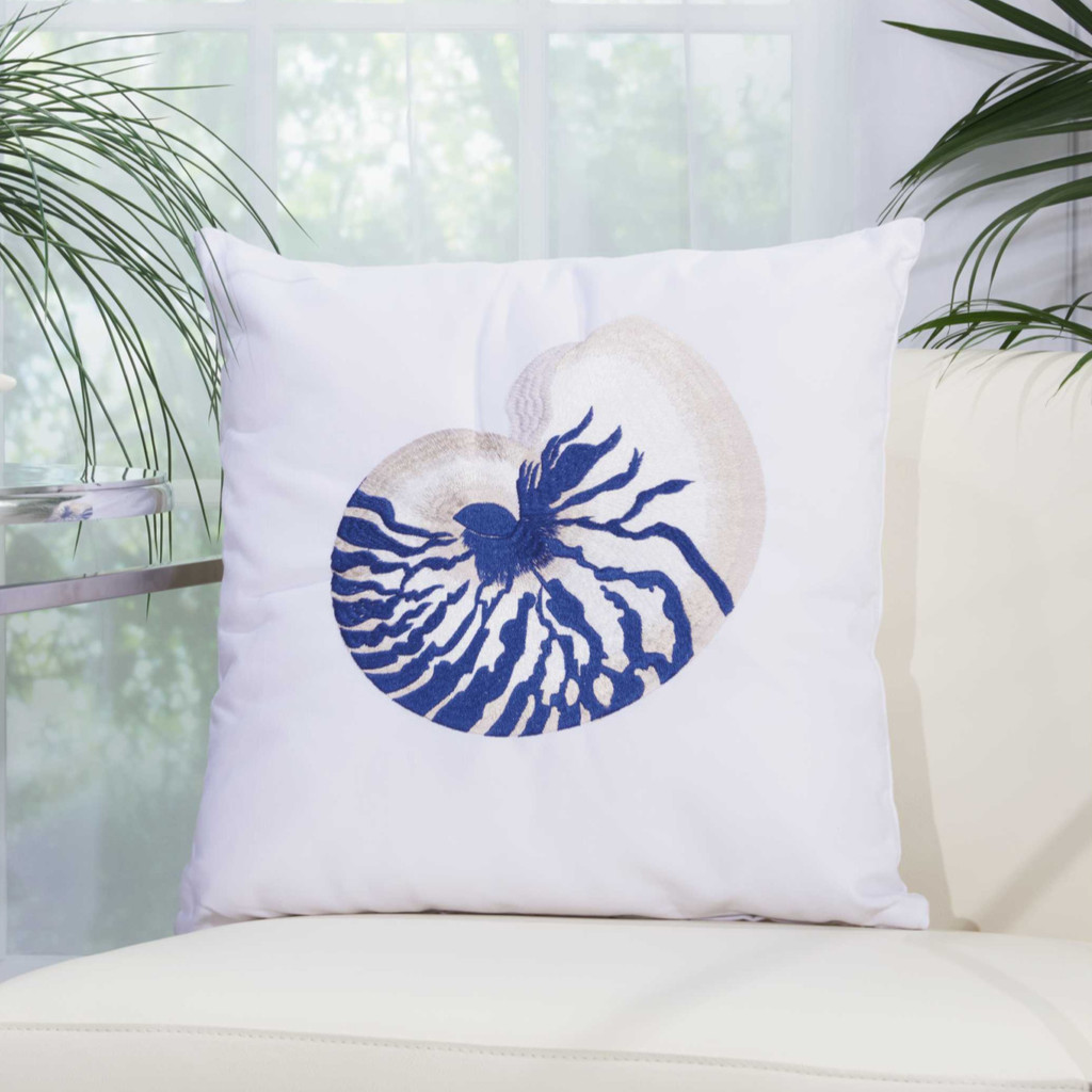 Blue Nautilus Shell Embroidered Throw Pillow