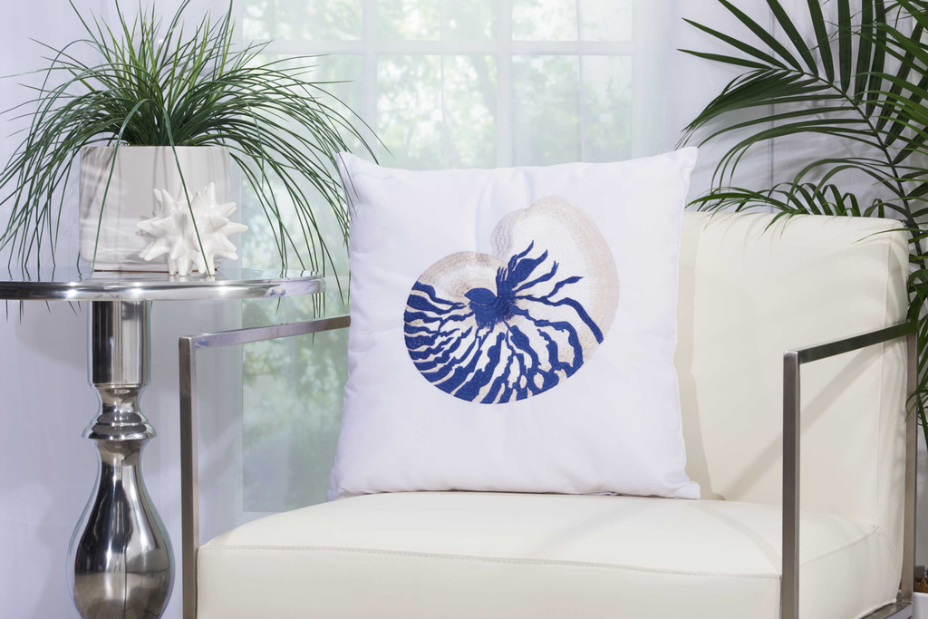 Blue Nautilus Shell Embroidered Throw Pillow room view