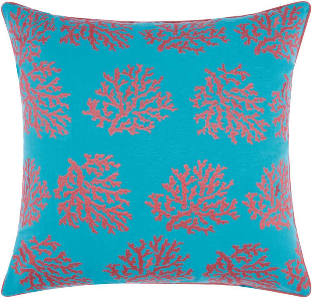 Embellished Corals Aqua and Pink-Coral Pillow front