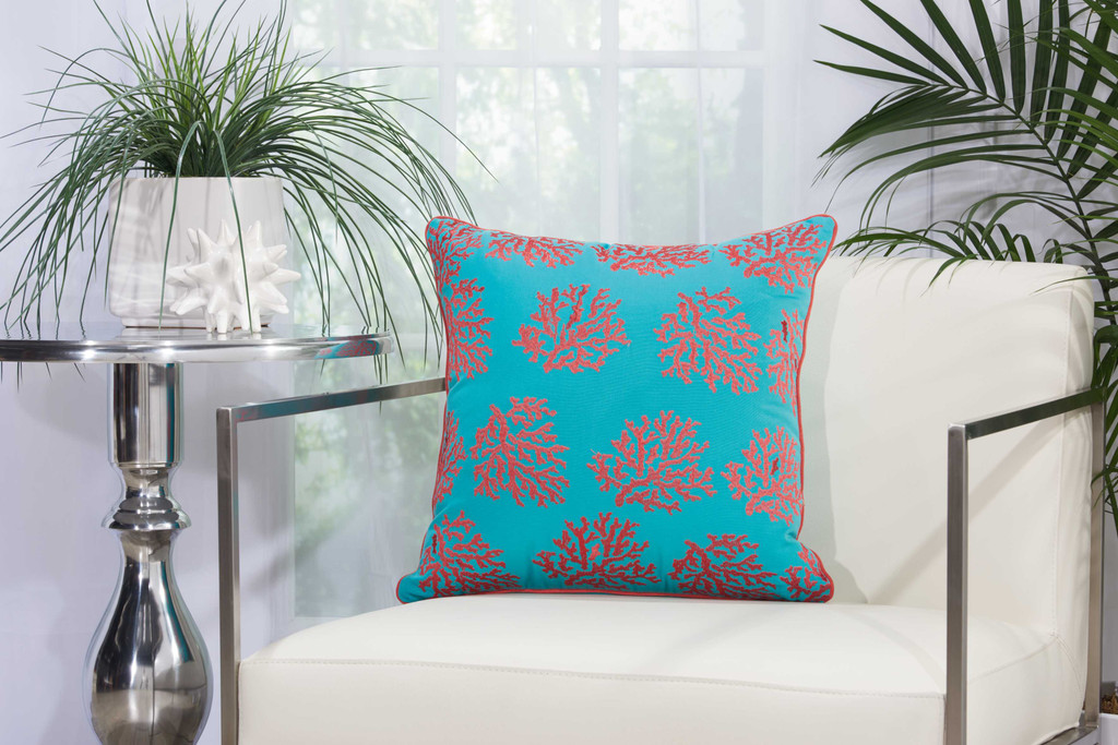 Embellished Corals Aqua and Pink-Coral Pillow room view