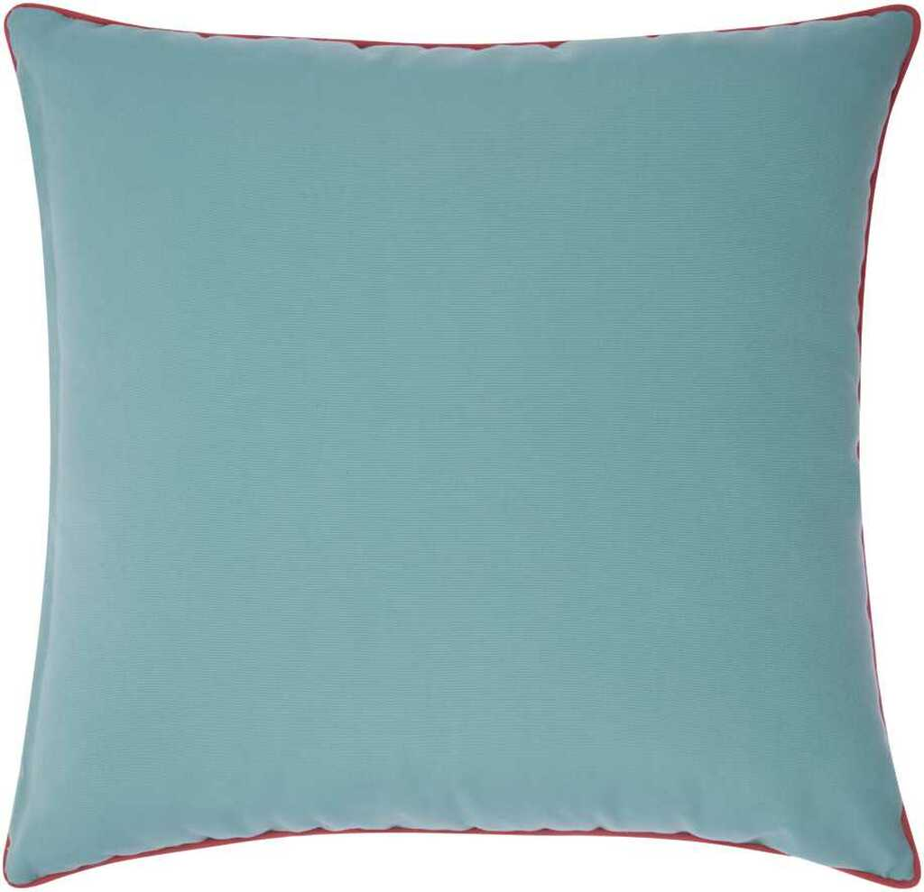 Embellished Aqua and Coral Compass Throw Pillow back