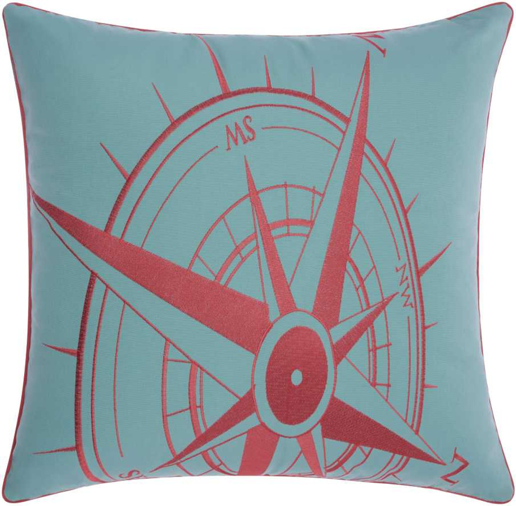Embellished Aqua and Coral Compass Throw Pillow front