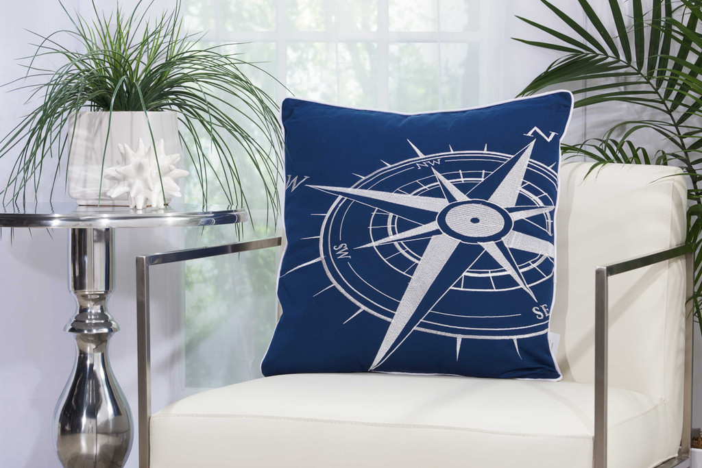 Embellished Navy and White Compass Throw Pillow room view