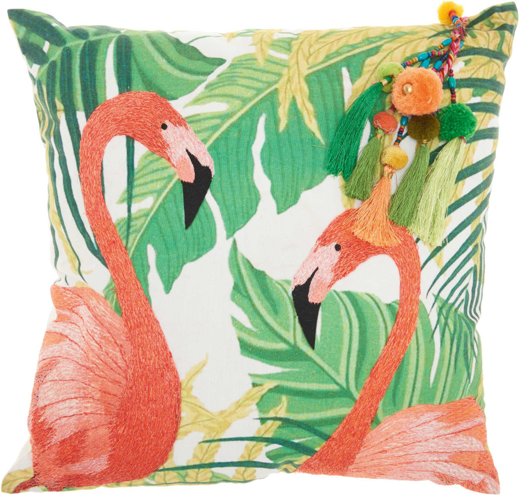 Embroidered Tropical Flamingos Tassel Pillow