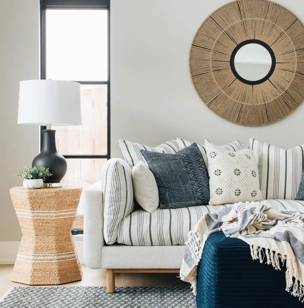 San Onofre Navy and Cream Woven Throw room collection