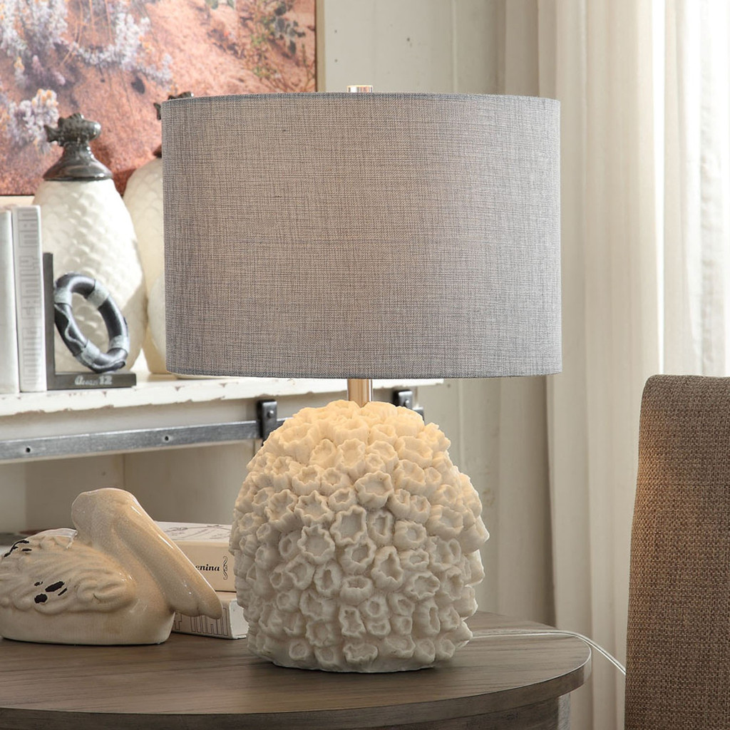 White Reef Table Lamp with Grey Shade
