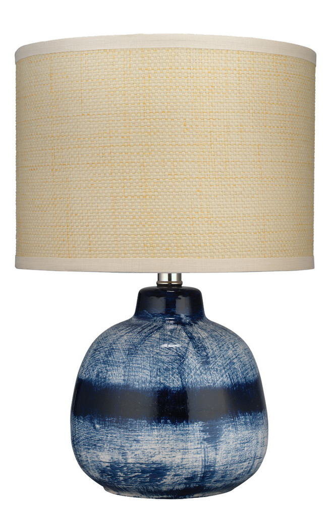 Small Batik Table Lamp in Indigo Ceramic